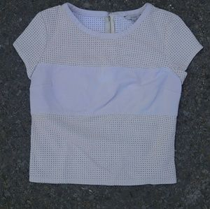guess perforated faux leather crop top